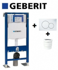 Bati-support Geberit Autoportant sigma UP320+Plaque Sigma01 Blanche+Manchon Geberit